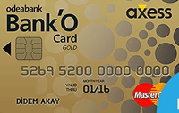 Bank'O Card Axess Gold kredi kartı görseli.