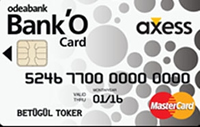 Bank'O Card Axess kredi kartı görseli.