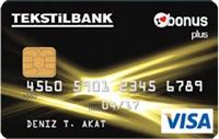 Tekstilbank Bonus Plus kredi kartı görseli.